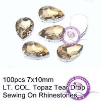 Good News! 100pcs 7x10mm LT. COL. Topaz Tear Drop Sewing On Rhinestones For Decoration