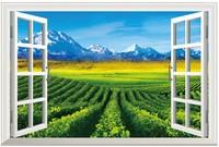 New Pastoral Landscape  Simulation PVC Fake Window Sticker 70*46cm Sofa Background Art Mural Home Decor Wall Sticker ty-7