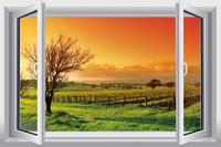 New Pastoral Landscape   PVC Fake Window Sticker 70*46cm Sofa Background Art Mural Home Decor Removable Wall Sticker fj-36