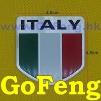 100pcs/lot 4.8*4.8cm Italy flag Metal Emblems Car Decoration Stickers Cool DIY Badge free shipping