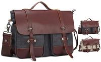 Men Briefcase Man Genuine Leather & Canvas handbags Man Canvas Bag Men messenger Bag Satchel Shoulder Bag BH-8016 Free Shipping