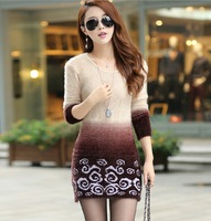 2014 Autumn Winter Warm Women Print Gradient Long Mohair Sweater Dress Thickening Pullover Ladies Soft Knitted Sweaters 4Colors