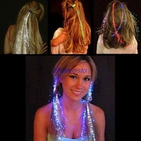 New arrival Party Color Changing Fiber Optic Sparkle Glow LED Extension Shine Hair Clips Party Light Lampe