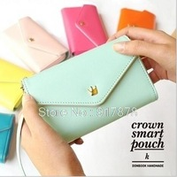 Women Phone Wallet Bag For Samsung Galaxy IPhone 6 Women's Crown Concise Purse Universal Cell Phone Wallet Card Holders 2014