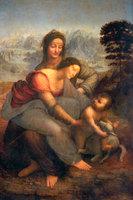Virgin-Child-St ANNE By Leonardo Da Vinci, Oil Painting Reproduction,canvas oil painting,Handmade,Free shipping