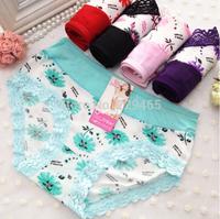 Underwear sexy briefs low waist printed cotton lace underwear women briefs floral cute lady briefs triangle briefs intimates