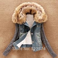 free ship winter women coat 2014 new brand fashion lambs wool women's cowboy cotton coat winter jacket women warm fur coats