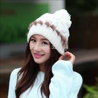 1 Pcs 2014 Winter Warm Knitted Cap Women Fashion Hats MZ1488 8 Colors Free Shipping