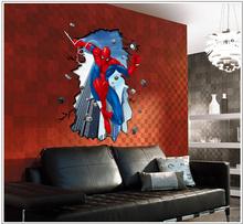 Amazing Spiderman Peel and Stick Superhero Wall Stickers Boys Dream Room Kids Bedroom decoration Wallpaper E-shine Jewelry T2421