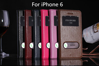 For iPhone 6 Folio Dual View Windows Caller ID Stand Genuine Leather cover case with original package
