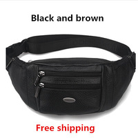 Fashion belt bag men genuine leather fanny pack first layer of cowhide waist pack bags casual multifunctional waist bag for men