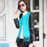 2014 New Women Autumn Winter Slim Overcoat Raccoon Fur Lace Stitching Fashion Woolen Coat Jacket Korean Women Free Shipping