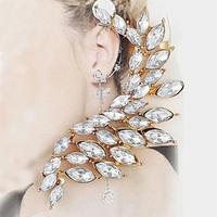 TOP Quality Wholeslae Fashion Cuff Earrings Shine Rhinestone Angel Feather Ear Cuff Earrings SE659