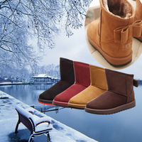 hot plus size winter keep warm women snow boots black plush rubber bow flat winter short shoes zapatos mujer botas botas mujer