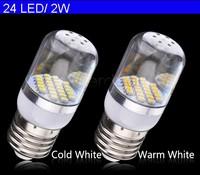 E27 Led Bulb SMD3528 24 LED 48 LED Corn Light Cold White/Warm White Transparent Cover Bulb Lamp 200V-240V/2W/3W SV18 CB029485