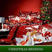 New Christmas Queen Size Santa Claus Pillowcase Cover 2PCS Set 100% Cotton A-AU