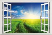 New Pastoral Landscape   PVC Fake Window Sticker 70*46cm Sofa Background Art Mural Home Decor Removable Wall Sticker ty-10