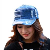 Fashion adjustable men & women retro edging denim hole flat hats,hip hop jeans Baseball Cap,free shipping