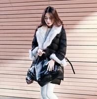 New 2014 High Street Korean Style Women's Big Fox Fur Collar and Cuff  Down Coat Parkas Free Shipping F16491
