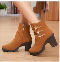 2014 spring and autumn female boots british style side zipper high-heeled platform shoes thick heel martin boots snow boots