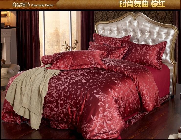 luxo vermelho cetim jacquard jogo do fundamento rei edredom queen size tampa colcha cama de folha de texile colcha designer(China (Mainland))