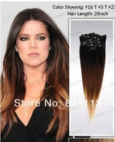 Discount!!Oxette ombre hair extensions with clips 15-24inch Ombre #1b/33/27 Three Tone 5A Peruvian Virgin Straight Clip in Hair
