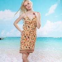 Fashion Women Bathing Suit Beach Cover Up Sexy Ice silk  Swimwear Bikini Tops Beach Dress