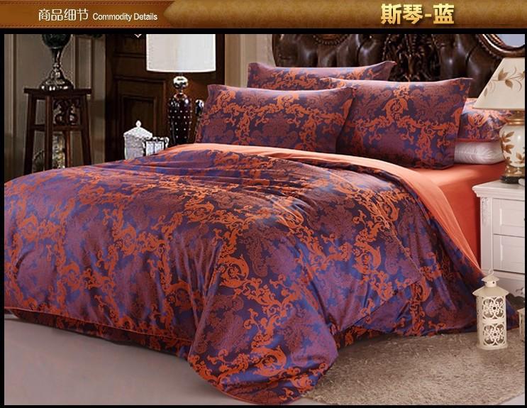 Azul luxuoso cetim jacquard cama conjunto de consolador rei queen size duvet cover colcha folha de cama(China (Mainland))