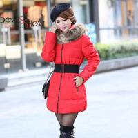 Women's cotton-padded jacket 2014 winter medium-long down cotton coat plus size jacket female slim ladies jackets and coats gift
