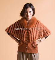 New arrive natural rabbit fur batwing coat wth fox fur trim collar in stock on sale