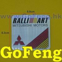 100PCS/LOT Ralliart Mitsubishi Motors Aluminium Stickers Car Logo Auto Emblem Badge RALLI-ART Decal