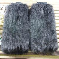 FASHION WINTER AUTUMN 40cm GRAY GREY HIGH SHOE BOOTS COVER TOPPER FURRY FUZZY FAUX ARTIFICIAL FUR WOMEN LEG WARMER J24