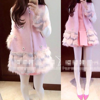 S-L Free Shipping 2014 Winter New Sweet Cherry Blossom pink Beaded Flower plush mosaic colour Fur Patchwork wool coats 141022#3
