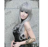 new fashion hot COSPLAY new silver-gray wavy wig Natural Kanekalon Fiber no lace Hair full Wigs
