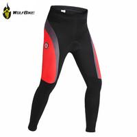 WOLFBIKE Unisex Cycling Padded Pants Windproof Fleece Thermal Winter Pants Bike Windbreak Pants Tights Bicycle clothing