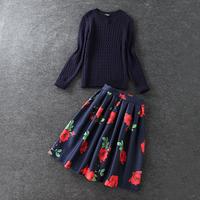 2014 news high quality Printed dark blue pattern sweater, skirt suit