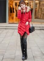 2014 Hot Sale Winter Red Fur Collar  Women Cotton Down Parkas Warm Coat Fashion Wave Jacket Free Shipping