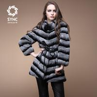 Free shipping! 2014 new 11.11 hot sell  rex rabbit chinchilla looking  slanting stripe design long fur coat button dual