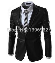2014 Mens Blazer Jacket Slim Leather Jacket Suit Casual Mens Leather Jacket(China (Mainland))