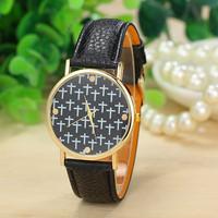 New Fashion Leather Cross Watches Geneva Women Dress Watches Quartz Wristwatch Watches