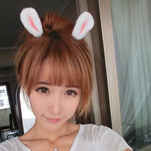Super cute cute furry rabbit ears hair jewelry hair clip headband hair clip adult baby BB clip(China (Mainland))