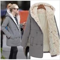 2014 winter warm coats women wool slim double breasted wool coat winter jacket women gray black fur women's coat jackets new