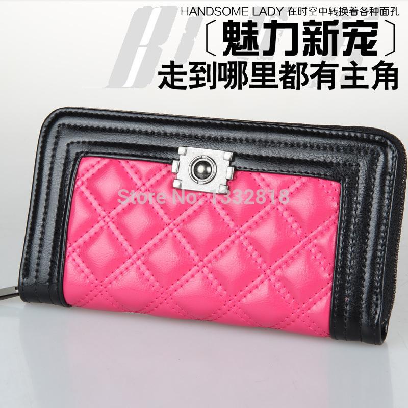 Women bag fashion leather bags lozenge effect long wallet lady's leather handbag manufacturers wholesale clutch women wallets(China (Mainland))