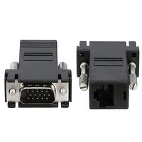 RJ45 Female to VGA Male Extender Adapter, Black - 6PCs