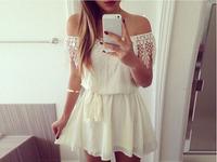 S-XL New fashion European and American trade strapless shoulder chiffon sexy white lace dress #JQ141