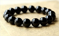 F09125 JMT 1 Piece Agate Jade Beads Lucky Blessing Women's Chain Bracelet Bangle (Black-18mm) freeship