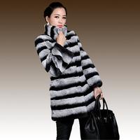 Free shipping! 11.11 new  high quality fur Rex Rabbit Fur chinchilla long design female rabbit plush fur coat