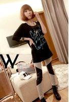 Fashion personality cotton large leather patchwork knee ankle length trousers legging