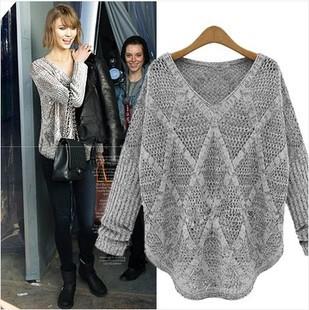 2014 Fall Hot new fashion women's large size Girl loose diamond hollow bat sweater female long-sleeved shirt FREE SHIPPING(China (Mainland))