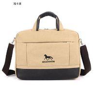 Leather Canvas men handbags 14-inch canvas computer Tablet PC briefcase canvas Dress messanger bags British Horse style